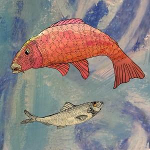 Konsttryck med fiskar